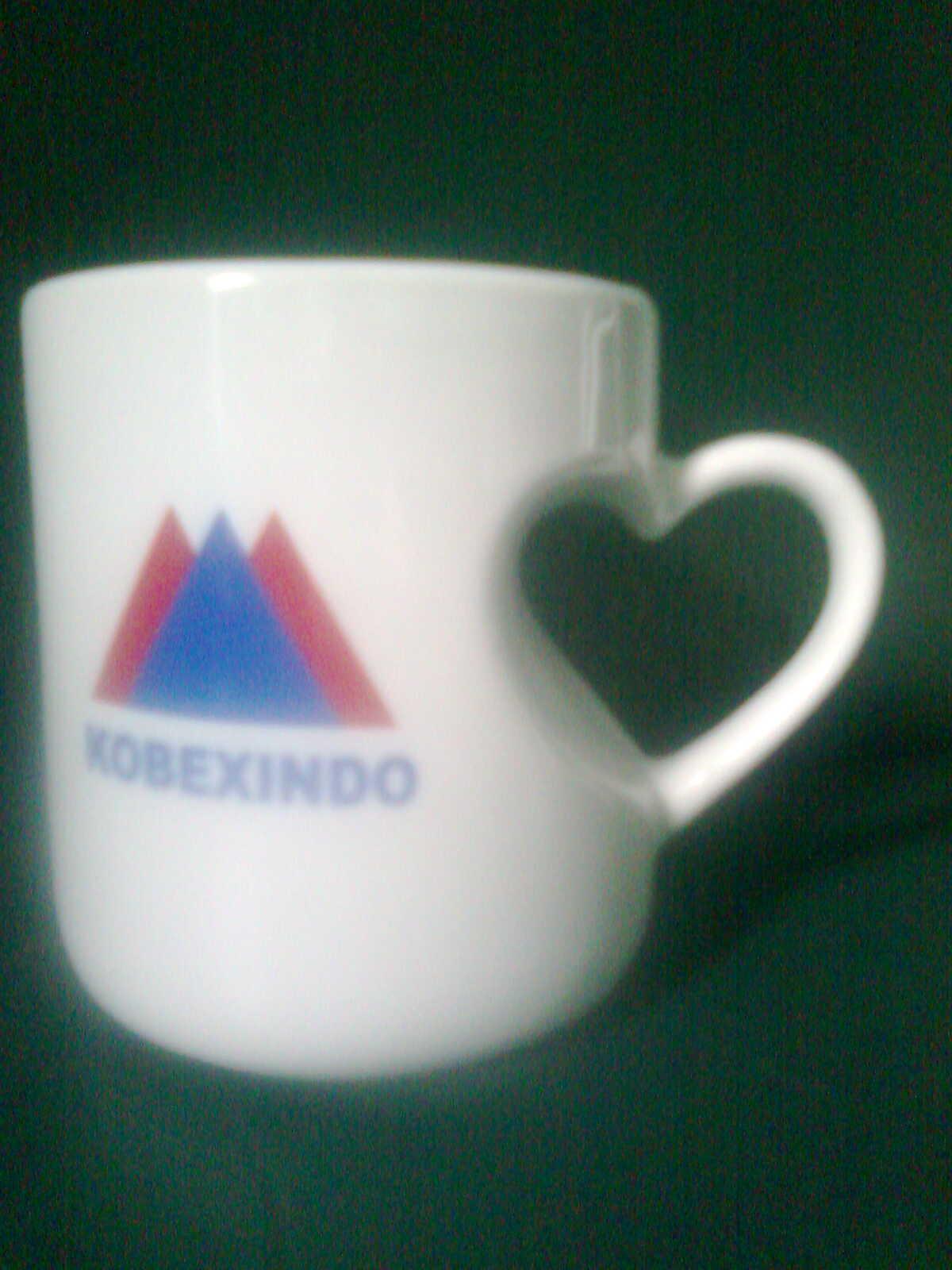 Mug souvenir jenis mug love untuk PT.Kobexindo di cikarang